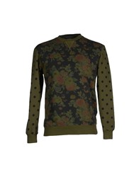Grey Daniele Alessandrini Topwear Sweatshirts Men Military Green