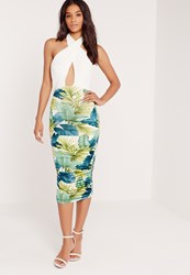 Missguided Leaf Print Ruched Wrap Front Midi Dress Green Green