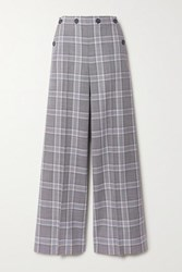 Roland Mouret Palmetto Button Detailed Checked Wool Wide Leg Pants Light Gray