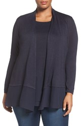 Nic Zoe Plus Size Women's Chiffon Trim Cardigan Midnight
