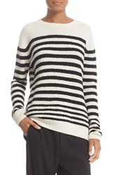 Vince Women's Engineered Stripe Wool Blend Pullover Off White Black