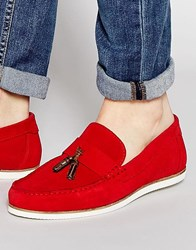 Asos Tassel Loafers In Red Suede Red