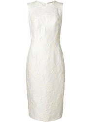 Ermanno Scervino Floral Brocade Dress White
