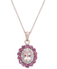 Macy's Multi Gemstone 1 7 8 Ct. T.W. And Diamond 1 6 Ct. T.W. Pendant Necklace In 14K Rose Gold