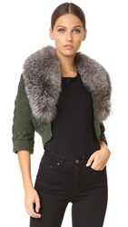 Yigal Azrouel Bolero Sweater With Fur Trim Fern
