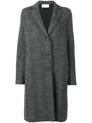 Harris Wharf London Chevron Single Breasted Coat Grey