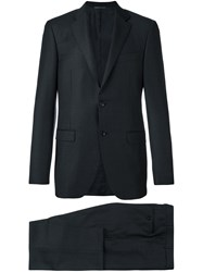 Canali Gingham Check Suit Black