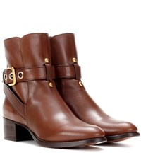 Chloe Embellished Leather Ankle Boots Brown