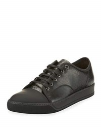 Lanvin Men's Cap Toe Crackle Leather Low Top Sneaker Black