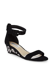 Saks Fifth Avenue Katy Floral Wedge Sandals Black