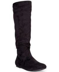 Wanted Toucan Tall Shaft Faux Fur Slouch Boots Women's Shoes Black