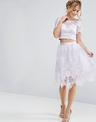 Chi Chi London Midi Skirt In Scallop Lace Lilac Grey Purple