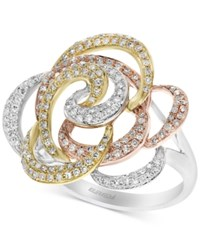 Effy Diamond Flower Swirl Ring 5 8 Ct. T.W. In 14K Gold White Gold And Rose Gold Yellow White Rose Gold