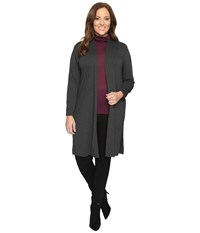 Vince Camuto Plus Size Long Sleeve Open Front Maxi Cardigan With Side Slits Dark Heather Grey Women's Sweater Gray