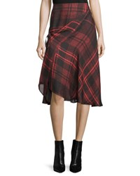 Mcq By Alexander Mcqueen Tied Tartan Plaid Skirt Red Red Tartan