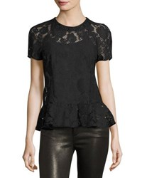 Romeo And Juliet Couture Short Sleeve Sheer Lace Peplum Top Black