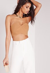 Missguided Cut Out Bralet Camel Beige