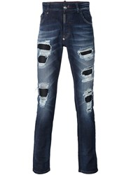Philipp Plein Distressed Straigt Leg Jeans Blue