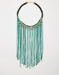 Designsix Extreme Tassel And Sparkle Necklace Darkgreen