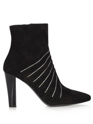 Saint Laurent Lily Crystal Embellished Suede Boots Black
