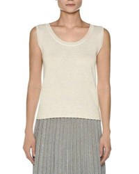 Agnona Sleeveless Crepe Cotton Top White