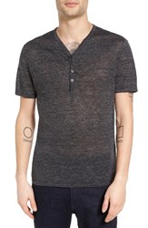 John Varvatos Men's Star Usa Space Dye Linen Henley Sweater Charcoal Heather