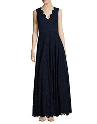 Vera Wang Solid Floral Lace Floor Length Gown Navy