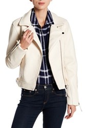 Romeo And Juliet Couture Faux Leather Moto Zip Jacket Beige