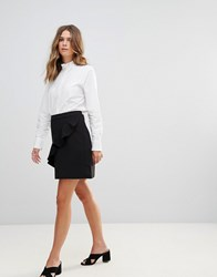 B.Young Ruffle Panel Mini Skirt Black