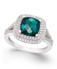 Macy's Lab Created Emerald 1 1 2 Ct. T.W. And White Sapphire 1 2 Ct. T.W. Ring In Sterling Silver