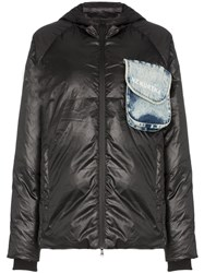 Natasha Zinko Beach Trash Print Puffer Jacket Black