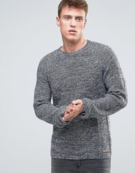 Esprit Knitted Jumper In Mixed Yarn Detail And Raglan Sleeve Navy