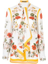 Alexander Mcqueen Floral Print Shirt Yellow And Orange
