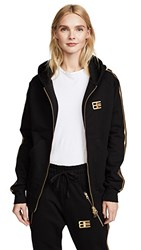 Baja East Zip Up Hoodie Gold Black