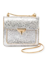 Dries Van Noten Metallic Leather Crossbody Bag With Chain And Turn Lock Silver