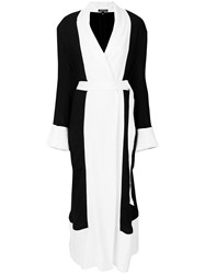 Ann Demeulemeester Two Tone Belted Long Coat Black