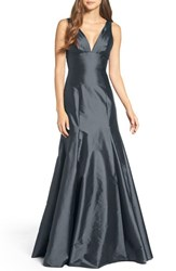 Monique Lhuillier Bridesmaids Women's Deep V Neck Taffeta Trumpet Gown Graphite