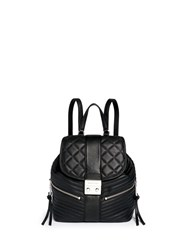 Michael Kors 'Elisa' Rhodium Buckle Quilted Leather Backpack Black