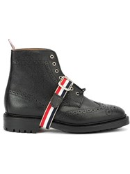 Thom Browne Striped Strap Brogue Boots Black