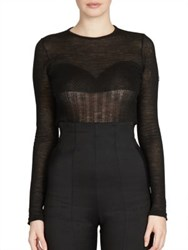 Balmain Knit Bustier Top Black
