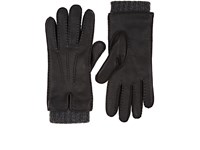 Barneys New York Extended Cuff Leather Gloves Black