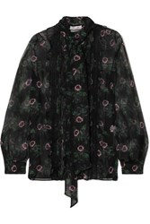 Valentino Pussy Bow Lace Trimmed Floral Print Silk Chiffon Blouse Black