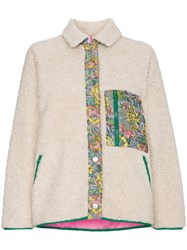 Sandy Liang Fleece Jacket With Floral Detail Nude And Neutrals