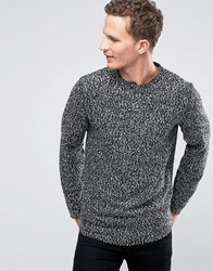 Selected Homme Crew Neck Sweat With Flecked Marl Detail Black