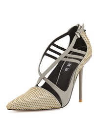 L.A.M.B. Boston Strappy Perforated Pump Grey Yellow