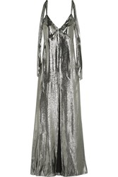 Saint Laurent Silk Blend Lame Gown Silver