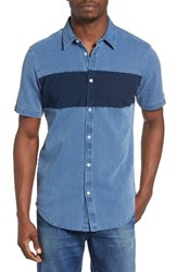 Rvca Men's That'll Do Mix Woven Shirt Washed Indigio
