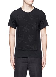 Ann Demeulemeester Floral Embroidery Front T Shirt Black