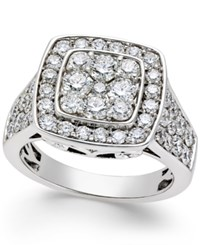 Macy's Diamond Square Cluster Engagement Ring 2 Ct. T.W. In 14K White Gold