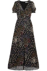 Paul And Joe Broceliande Floral Print Flocked Twill Dress Black